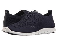 Cole Haan Zerogrand Feather Oxford Marine Blue Knit Leather Optic White Women's Lace Up Casual Shoes Navy