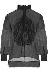 Givenchy Lace Appliqued Silk Chiffon Blouse Black