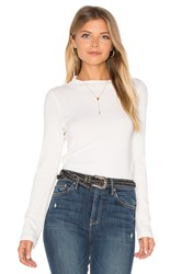 Monrow Mock Neck Rib Long Sleeve Ivory