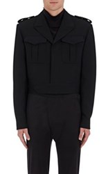 Balenciaga Men's Heavyweight Crepe Crop Military Jacket Black