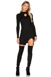 J.O.A. Long Sleeve Front Key Hole Dress Black