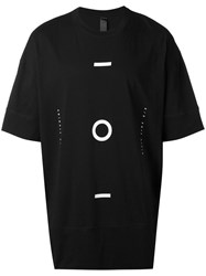 Odeur Geometric Print Elongated T Shirt Unisex Cotton S Black