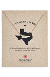 Women's Dogeared 'Love Is A State Of Mind Texas' Necklace Gold