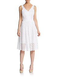 Anne Klein Eyelet A Line Dress White
