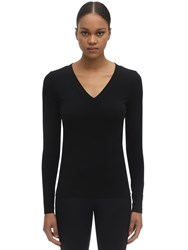 Wolford Sustainable Aurora Modal V Neck Top Black