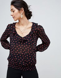 Oasis Frill Front Blouse In Lips Print Multi
