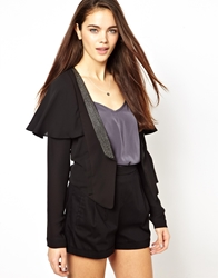 Mina Kimono Jacket With Diamante Black