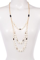 Stephan And Co Filigree Bead Simulated Pearl 3 Row Chain Necklace Green