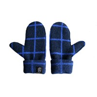 Giannina Capitani Grid Mittens Navy And Blue