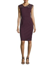 Elie Tahari Rosaly Lace Yoke Sheath Dress Bordeaux Wine