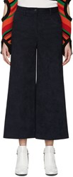 Msgm Navy Faux Suede Cropped Trousers
