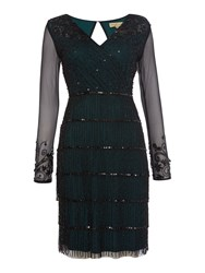 Frock And Frill Abrianna Long Sleeved V Neck Flapper Dress Black