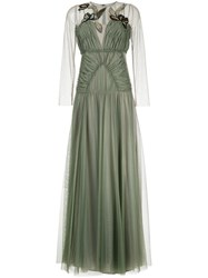 Antonio Marras Gathered Tulle Dress With Embroidery Polyamide Green