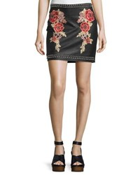 Romeo And Juliet Couture Faux Leather Studded Embroidered Skirt Black