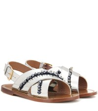 Marni Leather Slip On Sandals Silver