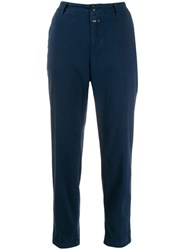 Closed Cropped Straight Leg Trousers Blue