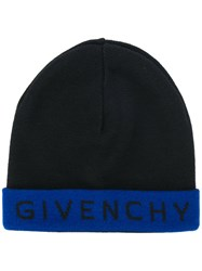 Givenchy Logo Contrast Beanie Hat Black