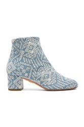 Aquazzura Brooklyn Embroidered Denim Booties In Blue Abstract Blue Abstract