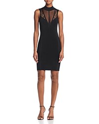 Guess Julie Inset Body Con Dress Jet Black Frost Gray