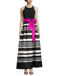 Eliza J Sleeveless Striped A Line Ball Gown Black Ivory