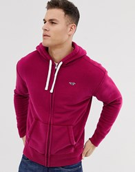 Hollister Chest Logo Full Zip Hoodie In Burgundy Red