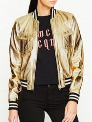 Just Cavalli Metallic Leather Bomber Jacket Gold