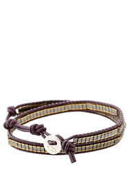 Colana Leather Wrap Bracelet With Gold Hematite Gold Purple
