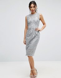 Little Mistress Lace Pencil Dress Grey