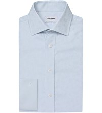 Duchamp Tailored Fit Floral Jacquard Shirt Blue