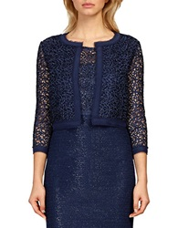 Kay Unger Lace Silk Trimmed Jacket Navy