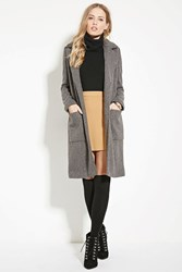 Forever 21 Ribbed Knit Overcoat Charcoal Heather