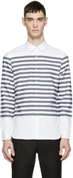 Burberry White And Navy Breton Stripe Shirt