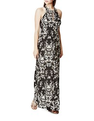 Guess Josse Floral Printed Gown Black White