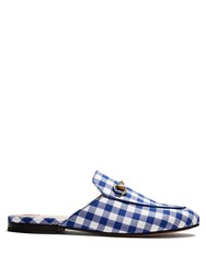Gucci Princetown Gingham Backless Loafers Blue White
