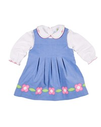 Florence Eiseman Corduroy Flower Dress W Peter Pan Collar Top Size 12 24 Months Blue