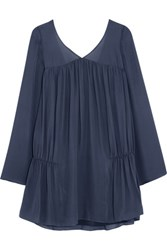 Elizabeth And James Theron Ruched Silk Chiffon Mini Dress Navy