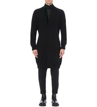Haider Ackermann Velvet Trim Wool Blend Cardigan Black