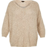 River Island Womens Ri Plus Slouchy Knit Sweater