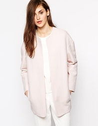 Mango Collarless Smart Coat Pink