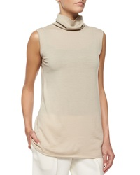 The Row Rion Sleeveless Cashmere Blend Turtleneck Top