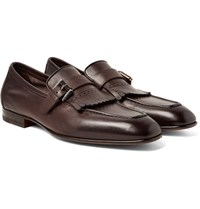 Santoni Burnished Leather Kiltie Loafers Brown