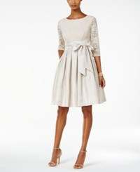 Jessica Howard Petite Pleated Fit And Flare Dress Beige