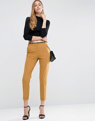 Asos Cigarette Trousers With Belt Mustard Yellow