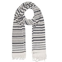 French Connection Deana Stripe Cotton Scarf Summer White Black