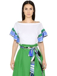 Emilio Pucci Cotton Jersey And Silk Twill Top