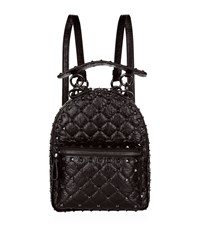 Valentino Garavani Mini Crinkled Leather Spike Backpack Black