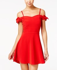 Material Girl Bow Trim Off The Shoulder Fit And Flare Dress Only At Macy's Lipstick Red