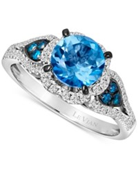 Le Vian Blue Topaz 1 1 5 Ct. T.W. And Diamond 3 8 Ct. T.W. Ring In 14K White Gold