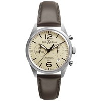 Bell And Ross Brv126 Bei St Sca Men's Vintage Original Automatic Chronograph Leather Strap Watch Brown