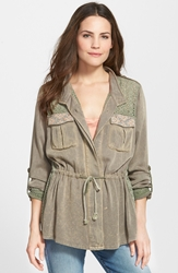 Miss Me Twill And Eyelet Military Jacket Olive
